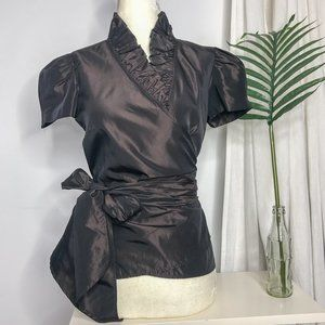 Zara Taffeta Ruffle Puff Sleeve wrap top brown